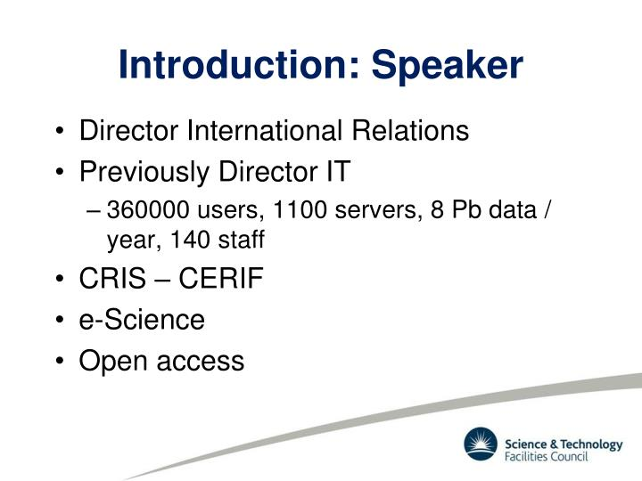 Introduction speaker