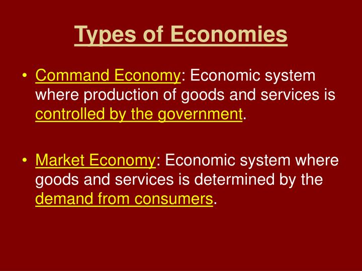Types of economies