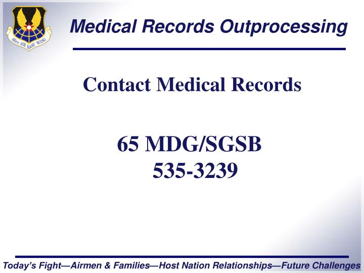 Medical records outprocessing