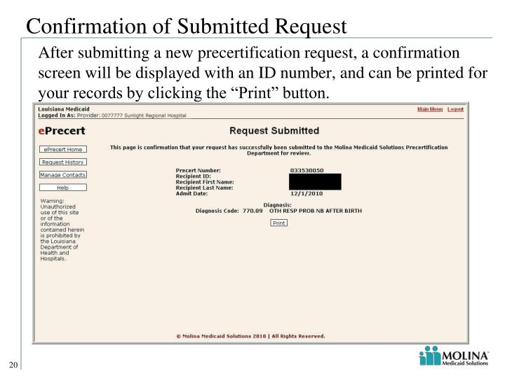 Confirmation of Submitted Request