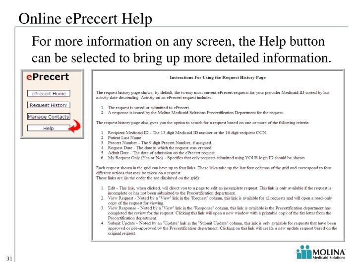 Online ePrecert Help
