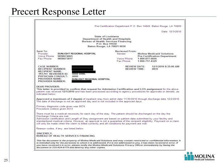 Precert Response Letter