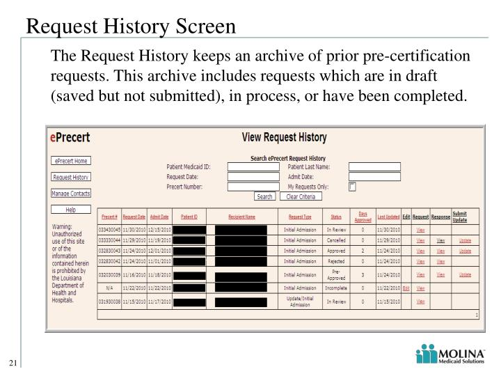 Request History Screen