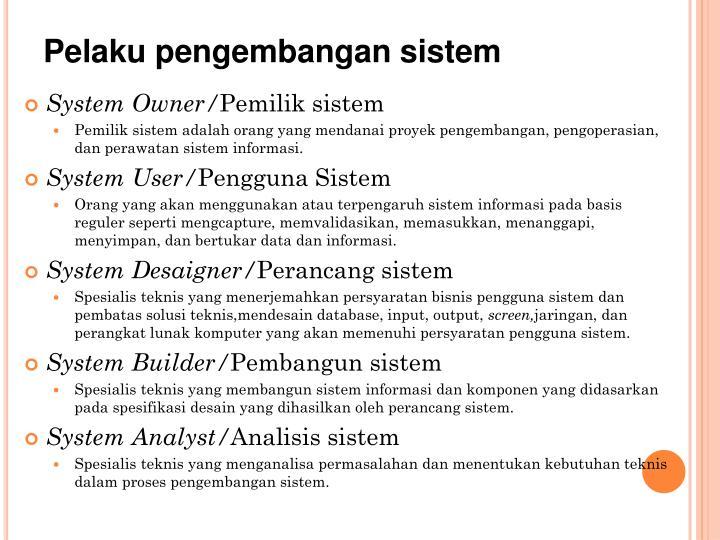 Pelaku pengembangan sistem