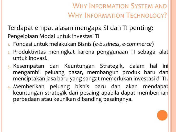 Why Information System and