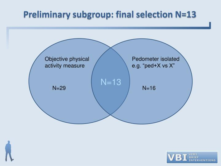Preliminary subgroup: final selection N=13