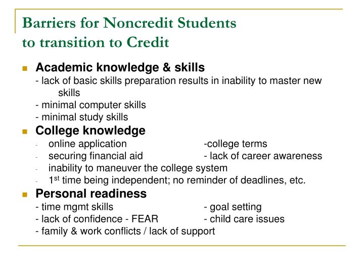 Barriers for Noncredit Students