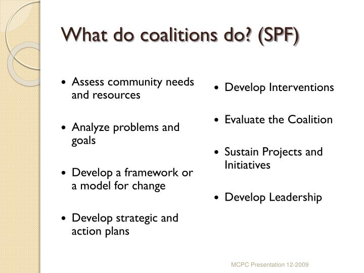 What do coalitions do? (SPF)