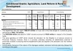 conditional grants agriculture land reform rural development