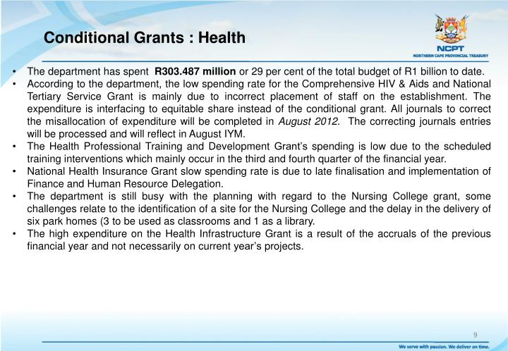 Conditional Grants : Health