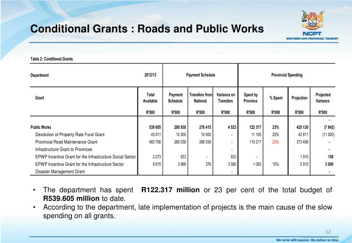 Conditional Grants : Roads and Public Works