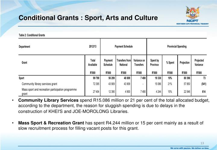 Conditional Grants : Sport, Arts and Culture
