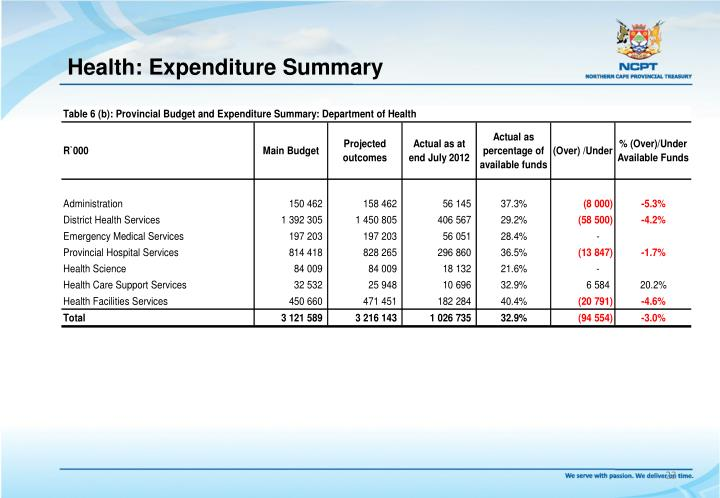 Health: Expenditure Summary