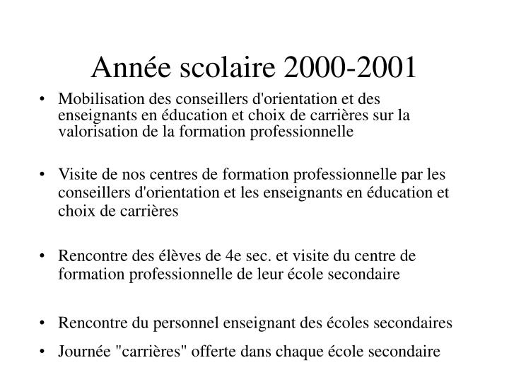 Année scolaire 2000-2001
