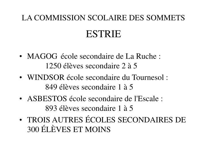 LA COMMISSION SCOLAIRE DES SOMMETS