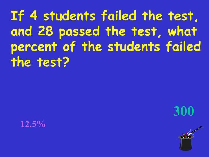 If 4 students failed the test, and 28 passed the test, what percent of the students failed the test?