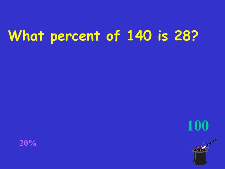 What percent of 140 is 28?