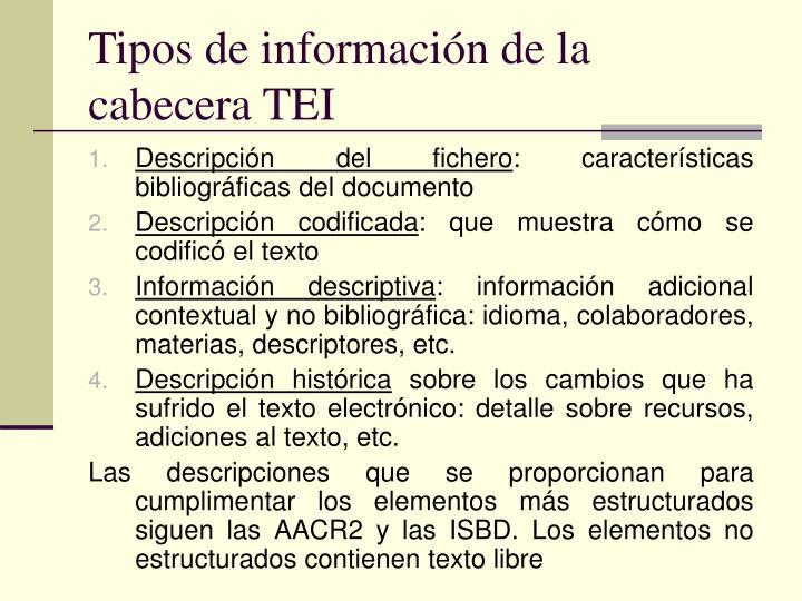 Tipos de información de la cabecera TEI
