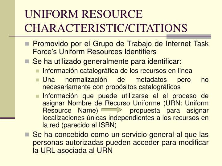 UNIFORM RESOURCE CHARACTERISTIC/CITATIONS