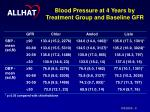 blood pressure at 4 years by treatment group and baseline gfr