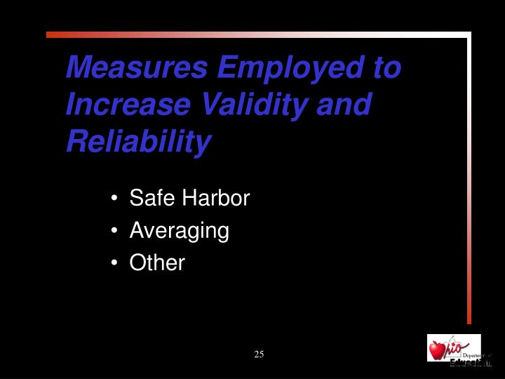 Measures Employed to Increase Validity and Reliability