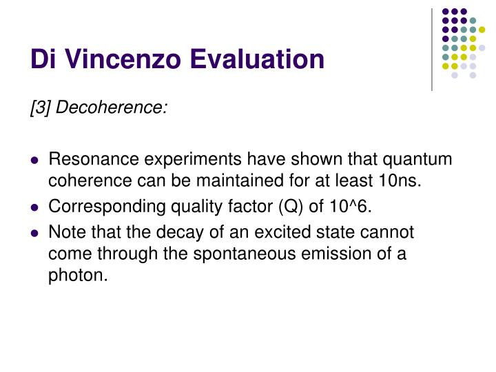 Di Vincenzo Evaluation