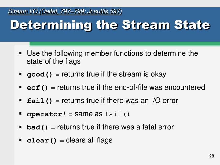 Stream I/O (Deitel, 797–799; Josuttis 597)
