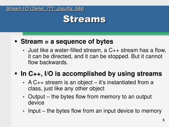 Stream I/O (Deitel, 771; Josuttis, 584)