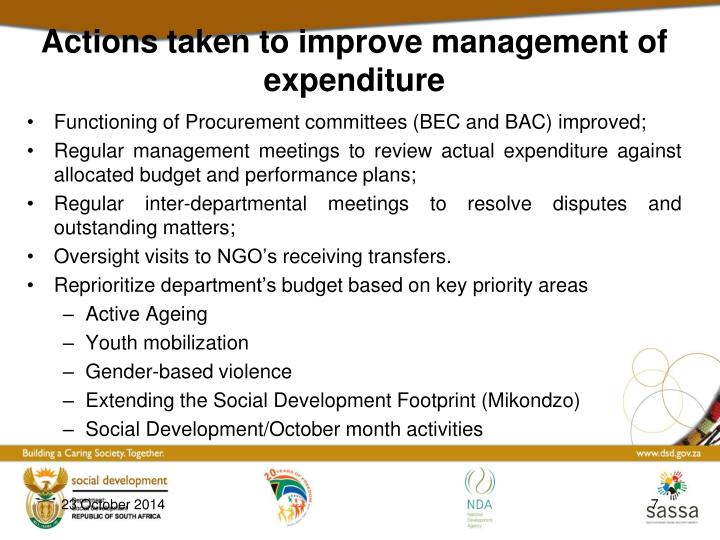 Actions taken to improve management of expenditure