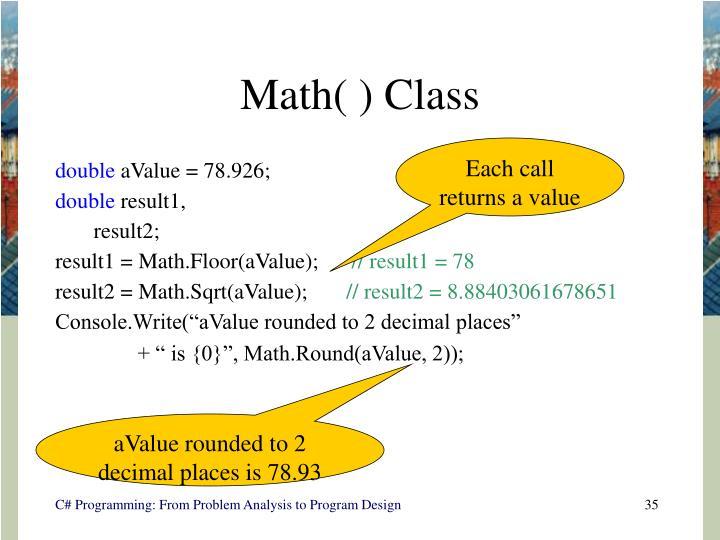 Math( ) Class