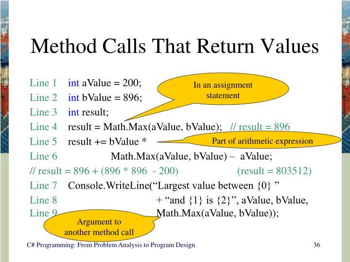 Method Calls That Return Values