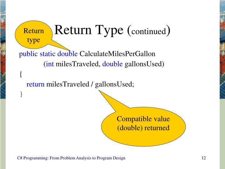 Return Type (