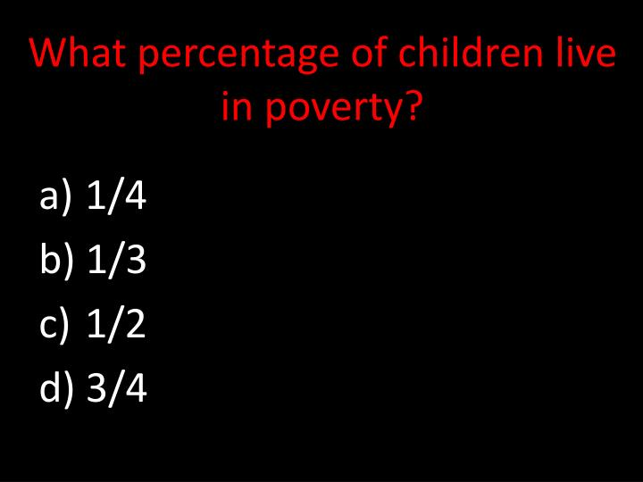 What percentage of children live in poverty?