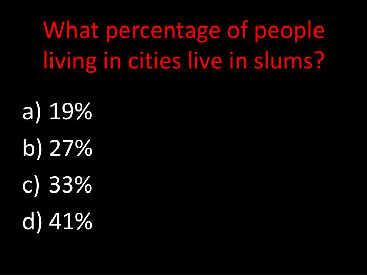 What percentage of people living in cities live in slums?