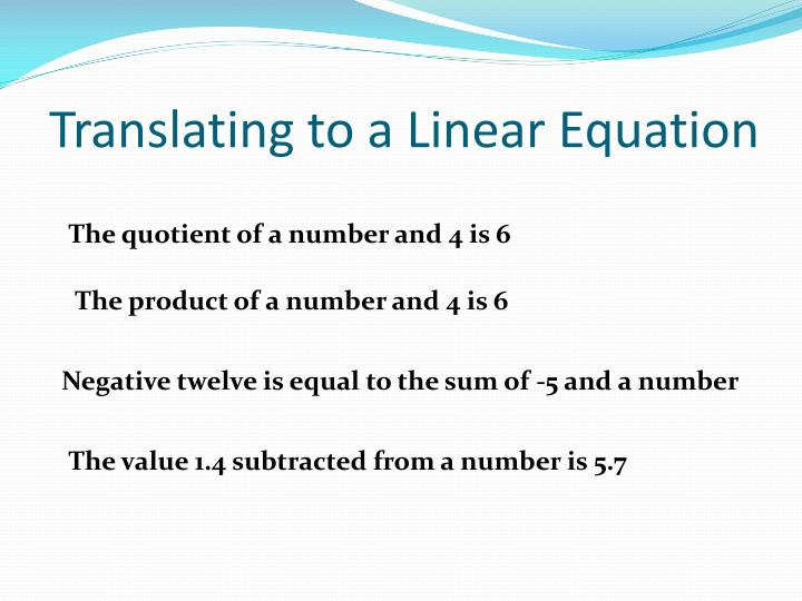 Translating to a Linear Equation