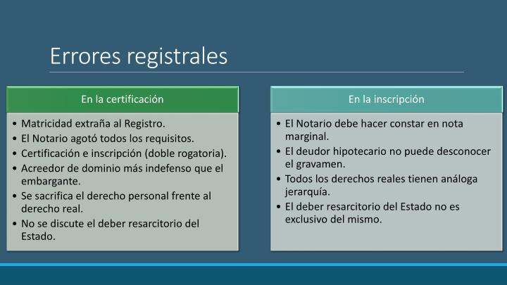 Errores registrales