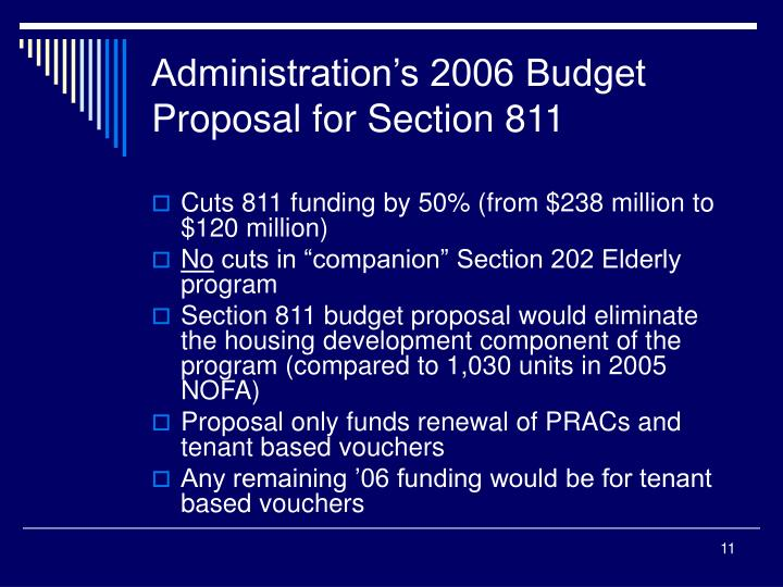 Administration's 2006 Budget Proposal for Section 811