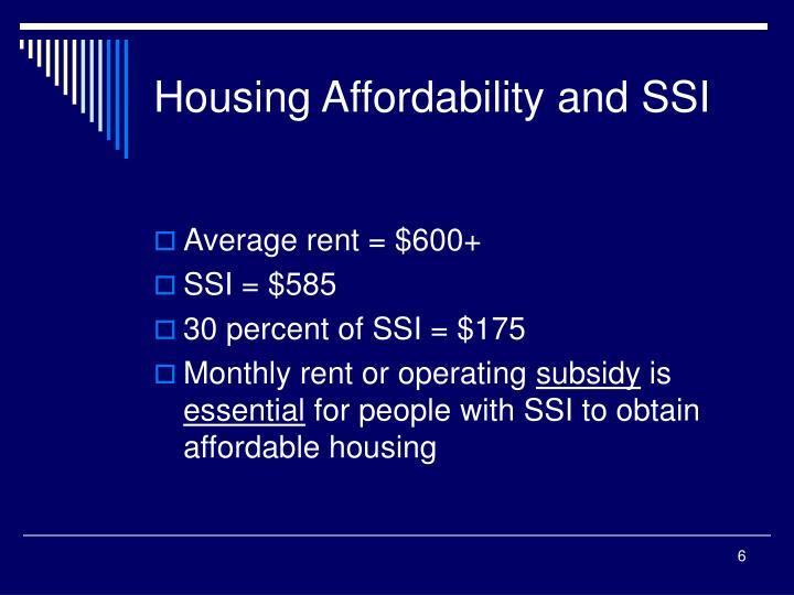Housing Affordability and SSI