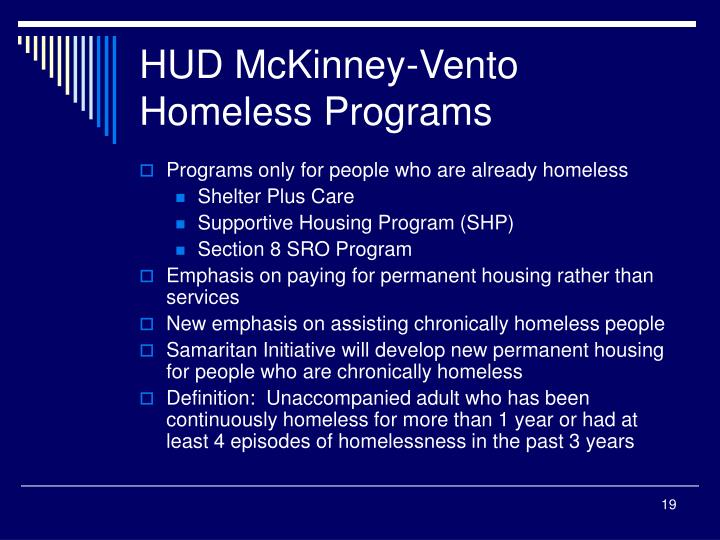 HUD McKinney-Vento Homeless Programs