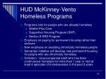 hud mckinney vento homeless programs