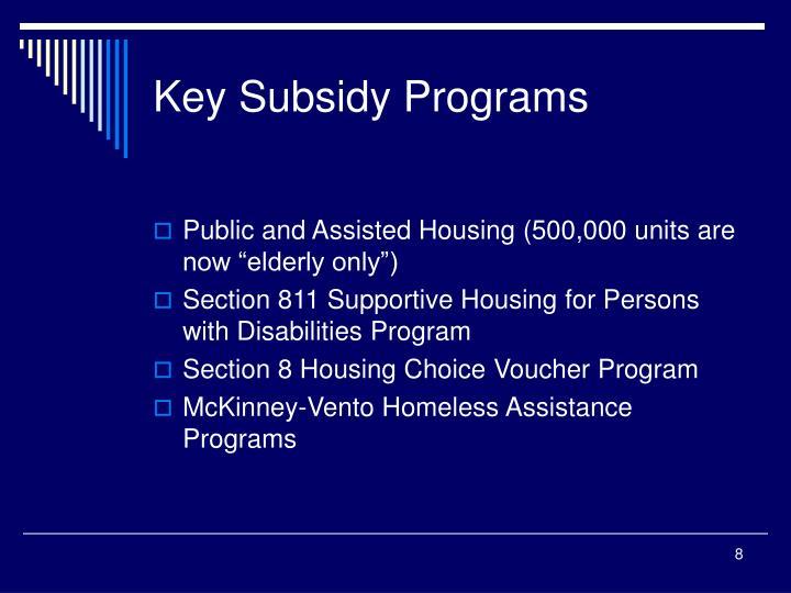 Key Subsidy Programs