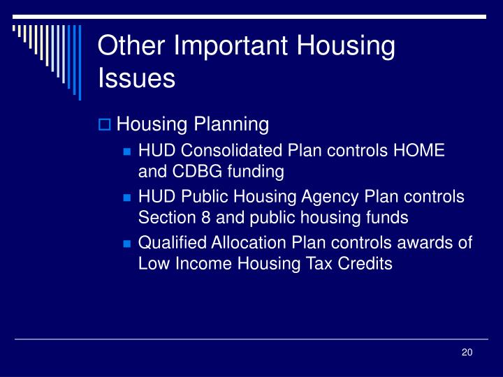 Other Important Housing Issues