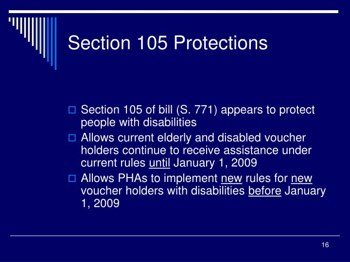 Section 105 Protections