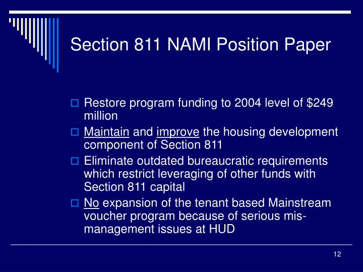 Section 811 NAMI Position Paper