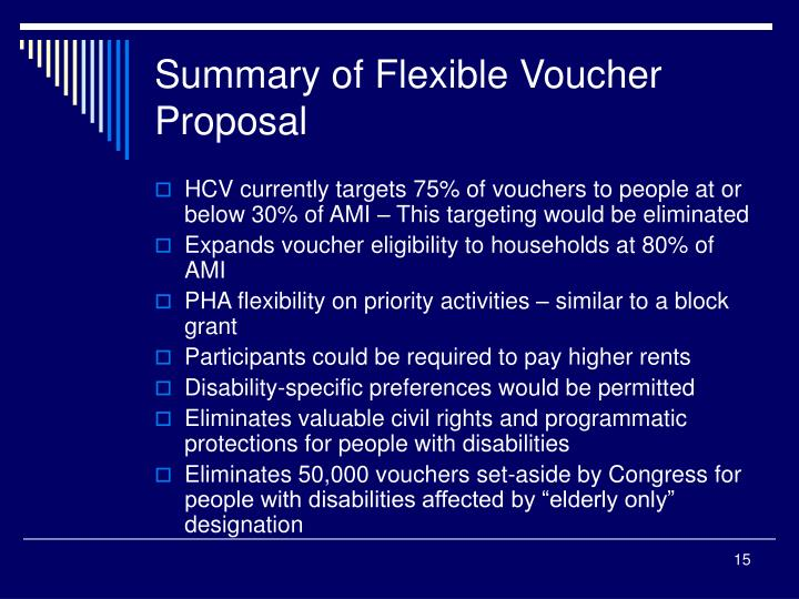 Summary of Flexible Voucher Proposal
