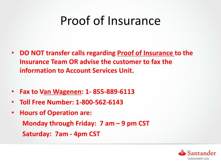 Proof of Insurance