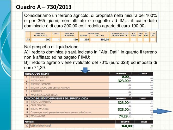 Quadro A – 730/2013