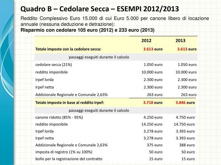 Quadro B – Cedolare Secca – ESEMPI 2012/2013