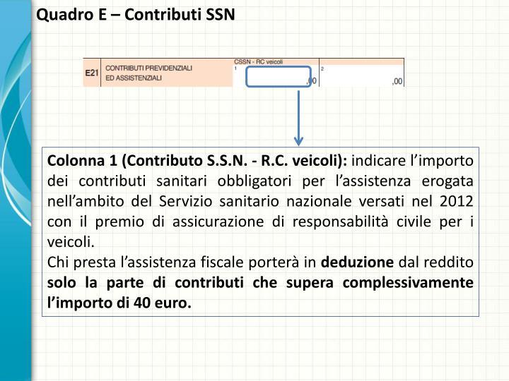 Quadro E – Contributi SSN