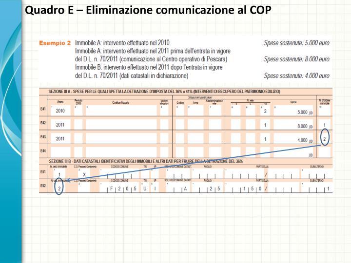Quadro E – Eliminazione comunicazione al COP